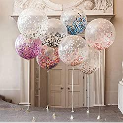 Confetti Balloons Jumbo Latex Balloon Paper Balloons Crepe Paper Filled with Multicolor Confetti for Wedding or Party Decorative (5 Pcs) CVBOSS