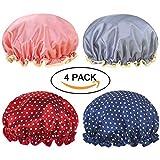 Miracu 4 Pack Lined Satin Shower Caps, Double Layers Waterproof Bath Cap Elastic Reusable Salon Spa Shower Hat for Women