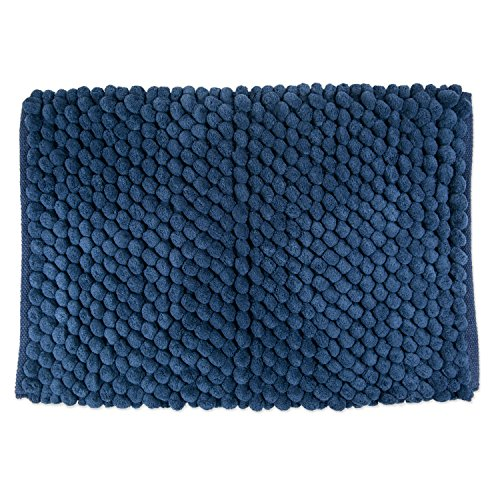 DII Ultra Soft Plush Spa Microfiber Shag Chenille Bath Mat Place in Front of Shower, Vanity, Bath Tub, Sink, and Toilet, 21 x 34' - Blue Solid