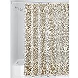InterDesign Twigz Fabric Shower Curtain, 72' x 72', Vanilla and Bronze