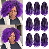 GX Beauty 9 Packs Marlybob Crochet Hair Afro Kinky Curly Braids Hair 8 Inch Ombre Purple Curly Braiding Hair Synthetic Marley Hair for Black Women(1B/Purple#)