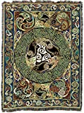 Pure Country Weavers | Ravens Panel Irish Celtic Symbols Woven Tapestry Throw Blanket with Fringe Cotton USA 72x54