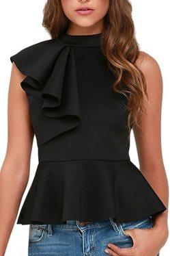 Image result for Dearlovers Women Ruffle Side Casual Peplum Top Shirt