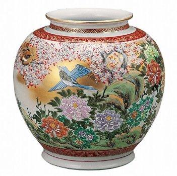 Jpanese traditional ceramic Kutani ware. Ikebana flower vase. Funds flower and bird. With wooden box. ktn-K5-1349