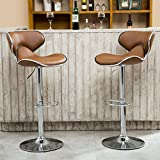Product review for Roundhill Furniture Masaccio Cushioned Leatherette Upholstery Airlift Adjustable Swivel Barstool with Chrome Base, Set of 2, Caramel