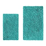 LuxUrux Bathroom Rug Mat Set–Extra-Soft Plush Bath Shower Bathroom Rug,1'' Chenille Microfiber Material, Super Absorbent. Machine Wash & Dry (Rectangular Set, Turquoise)