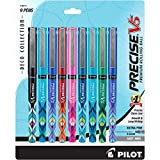 Pilot Precise V5 Deco Collection Rolling Ball Pens Extra Fine Point 9-Pack Assorted Colors (38811) Black/Blue/Red/Green/2 Purple/2 Turquoise, Patented Precision Point Technology, Skip-Free Writing
