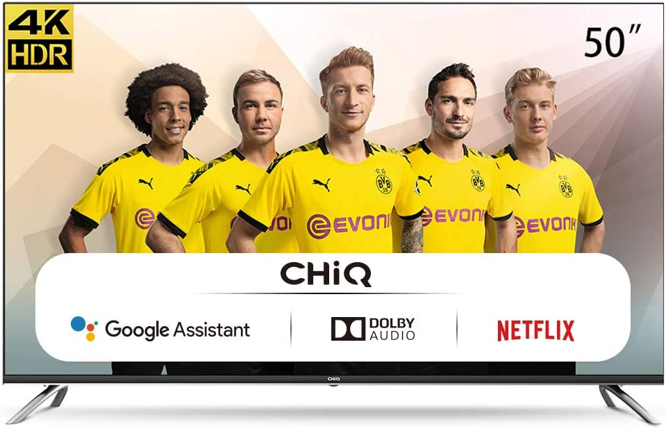 CHIQ U50H7A, 50 Pouces, Android 9.0 Smart TV, 4K, WiFi, Bluetooth, Google Play Store, Google Assistant, Chromecast bulit-in, Netflix, Video, Youtube