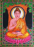 "Huge Cotton Fabric BUDDHA 43"" X 30"" Tapestry"