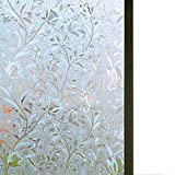 Bloss Excellent Quality 3D Static Cling Window Film Self adhesive Window Covering Decorative Flower Privacy film for window 17.7' x 78.7', 1 Roll
