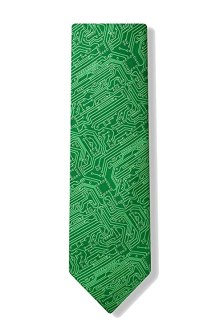 Men's Microfiber Green Computer Science Circuit Board Geek Necktie Neck Tie Neckwear