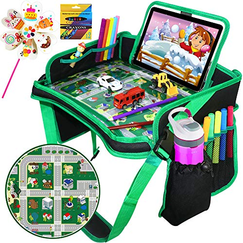 Car Seat Travel Tray, ZALALOVA Kids Waterproof Travel Tray Car Organizer with Sturdy Play Table Road Design Enables Snack Play Learn Drawing for Christmas Children Car Seats Strollers & Air Travel