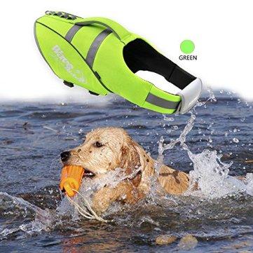 BOCHO-Wave-Riders-Reflective-Dog-LifeJacket-Super-Buoyancy-and-EVA-Lining-Adjustable-Dog-Safety-Vest-X-Large-Green