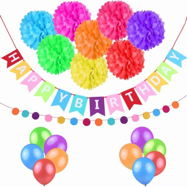 ESONMUS COLORFUL BIRTHDAY PARTY DECORATION SUPPLIES KIT