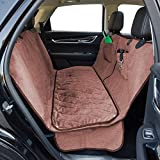 FURRY BUDDY Dog Car Seat Cover with Deluxe Removable Velvet Seat Pad Fits Compact and Midsize Sedans and Compact SUVs, 100% Waterproof &Non-Slip Backing &Hammock Convertible, 51''×58''