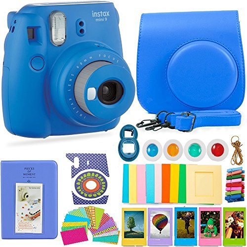 FujiFilm Instax Mini 9 Camera and Accessories Bundle – Instant Camera, Carrying Case, Color Filters, Photo Album, Stickers, Selfie Lens + More