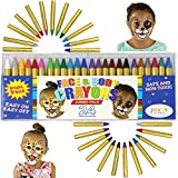 JOYIN 24 Colors Halloween Face Paint Safe & Non-Toxic Face and Body Crayons (Large Size 3 inch) Ultimate Party Pack Including 6 Metallic Colors for Halloween Makeup Party Suppiles