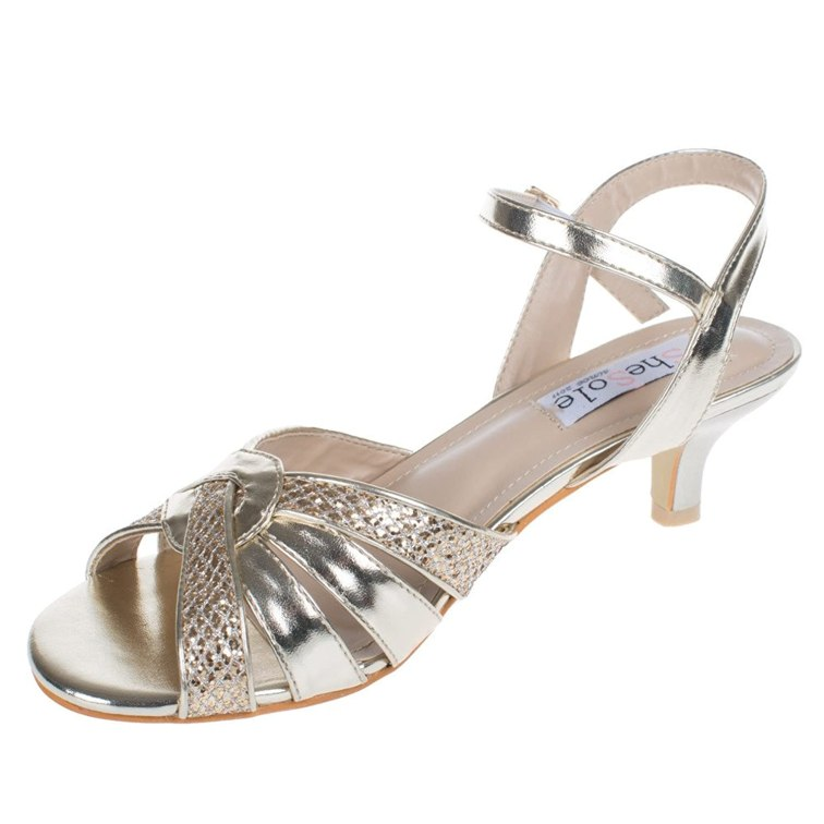 0b45589ac5236 SheSole Womens La s Glitter Low Heel Sandals Wedding Evening