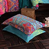 HNNSI Exotic Striped Bohemia Pillow Shams King Size 2 Pieces,100% Brushed Cotton Thick Boho Pillow Cases Bohemian Pillow Covers,20' x 36'