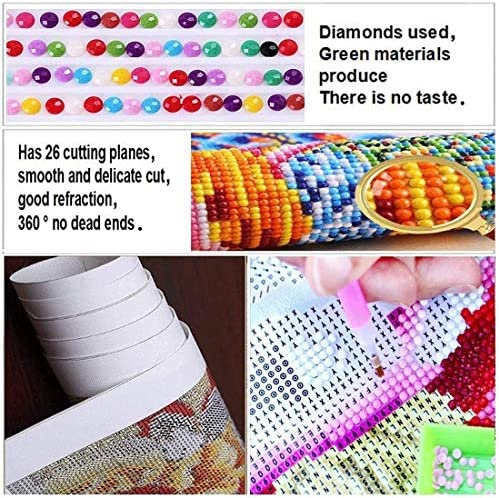 5D DIY Diamond Painting Kits for Adults, Full Drill Round Crystal Rhinestone Cross-Stitch Patterns Craft Canvas Perfect for Home Wall Deco Gift (America Flag and Cross12x16inch)