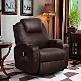 U-MAX Massage Recliner Chair PU Leather Ergonomic Heated Lounge Sofa Swivel with Control and Cup Holder for Living Room (Brown)