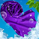 USBNOVEL Cooling Towel, Cool Towels Cold for Instant Chilling Relief Neck Wrap,Ice Towel for Sports Outdoors Fitness(40'x12') (Purple, 40'x12')