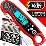 Alpha Grillers Instant Read Meat Thermometer for Grill and Cooking. Upgraded with Backlight and Waterproof Body. Best Ultra Fast Digital Kitchen Probe. Includes Internal BBQ Meat Temperature Guide