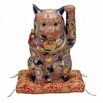 Jpanese traditional ceramic Kutani ware. Lucky charm ornament. Beckoning cat. Mori. With paper box. ktn-K5-1602