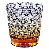 Crystal Double Old Fashioned Bar Glass 8.8oz Edo Kiriko Eternal Flower Design Cut Glass - Blue x Amber [Japanese Crafts Sakura]