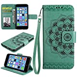 Cfrau Wallet Case with Black Stylus for iPhone 6S Plus,Retro 3D Henna Mandala Floral Embossed Magnetic Strap Flip PU Leather Card Slots Stand Soft Rubber Case for iPhone 6 Plus/6S Plus 5.5 inch,Green