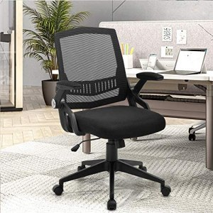Home Office Chair, Ergonomic Desk Chair with Lumbar Support, Mesh Computer Chair with Flip-up Armrests, Mid-Back Swivel Task Chair with High Resilience Thickened Cushion, 300LB Weight Capacity, Black