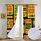 NUOMANAN Room Darkening Wide Curtains Zombie,Apocalypse Signs Attention Danger Safe Point Evil Phrase Modern Image Print,Yellow Grey Red,Light Blocking Drapes with Liner 52'x72'