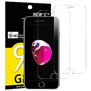 NEW'C Verre Trempé pour iPhone 7,iPhone 8,[Pack de 2] Film Protection écran - Anti Rayures - sans Bulles d'air -Ultra Résistant (0,33mm HD Ultra Transparent) Dureté 9H Glass