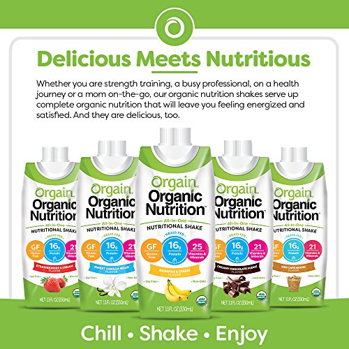 Orgain Organic Nutritional Shake, Sweet Vanilla Bean - Meal Replacement, 16g Protein, 21 Vitamins & Minerals, Gluten Free, Soy Free, Kosher, Non-GMO, 11 Ounce, 12 Count (Packaging May Vary) 3