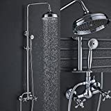 Senlesen Bathroom 8-Inch Rainfall Shower Faucet System Wall Mounted Dual Cross Handle Bathtub Shower Mixer Tap with Handheld Spray Chrome