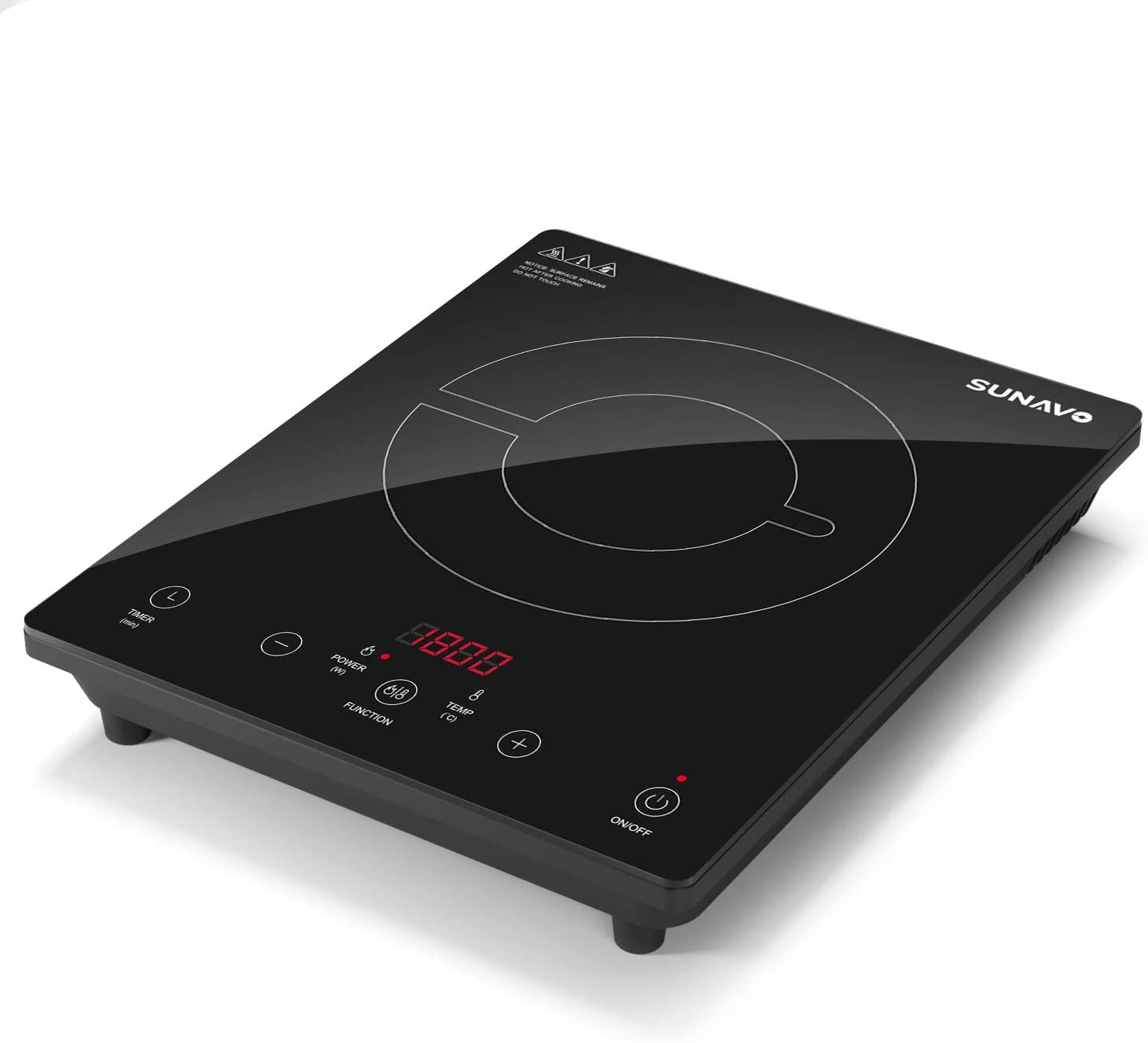 Amazon Com Sunavo Portable Induction Cooktop 1800w Sensor Touch Induction Burner With Kids Safety Lock 15 Temperature Power Setting Countertop Burner With Timer Kitchen Dining