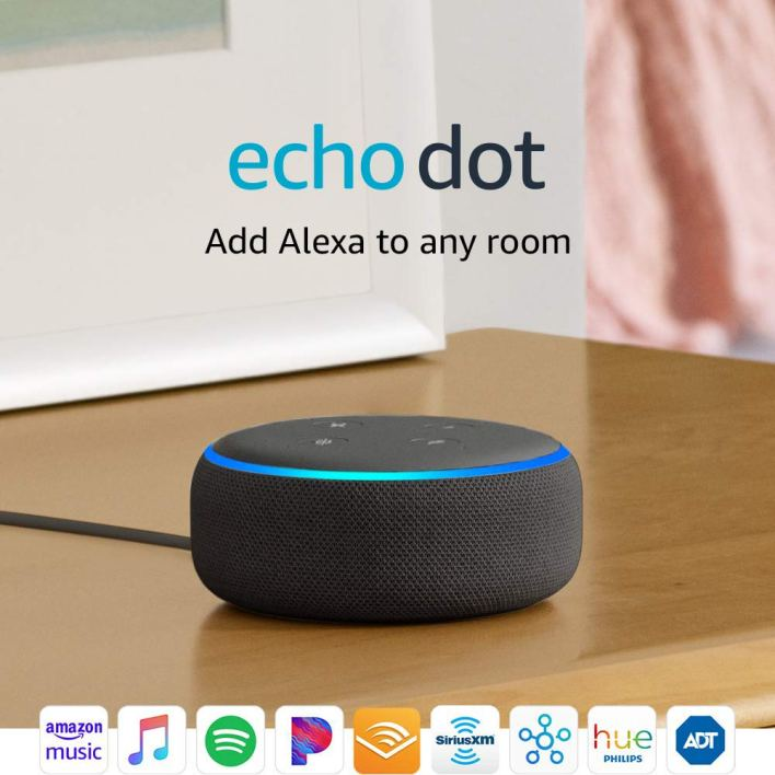 echo dot which you can add alexa to any room