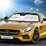 Solar Eclipse Windshield Sun Shade UV Protection for Auto Interior, Fold-Unfold, Upright and Lightweight (63x34- Inch)