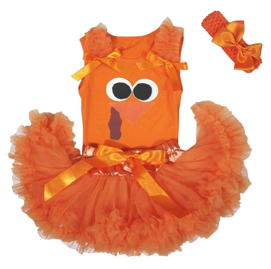 Petitebella Thanksgiving Turkey Face Orange Baby Girl Skirt Tutu Set 3-12m