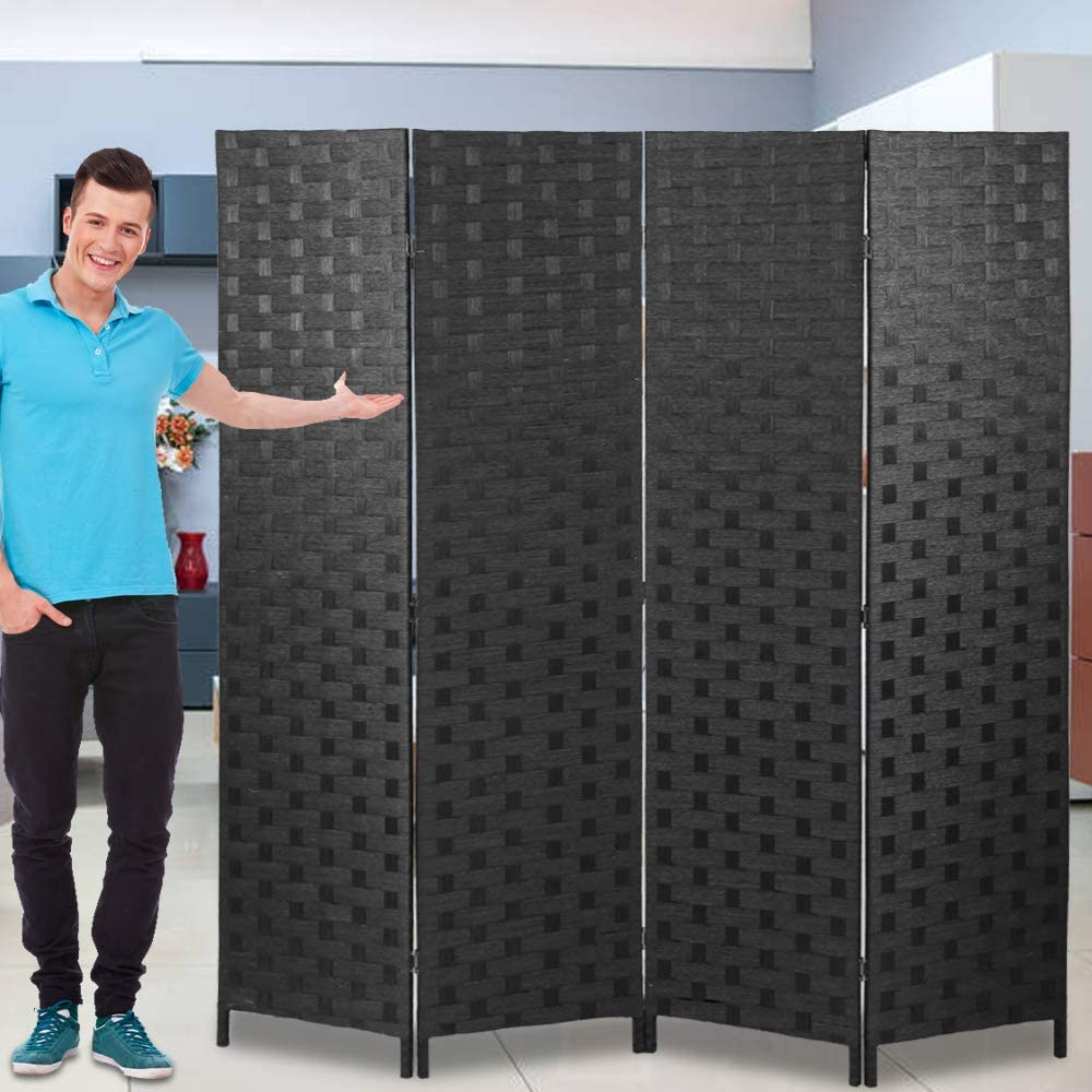 Amazon Com Room Dividers And Folding Privacy Screens 4 Panel 6 Ft Foldable Portable Room Seperating Divider Handwork Wood Mesh Woven Design Room Divider Wall Room Partitions And Dividers Freestanding Black Furniture