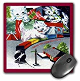 3dRose Sandy Mertens Vintage Christmas Designs - Cartoon of White Kittens Playing with Train Set - MousePad (mp_172746_1)
