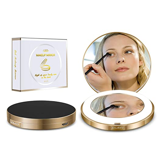 Led Compact Mirror [2019 Newest] Lighted Travel Makeup Mirror Rechargeable Led Purse Mirror Portable with Lights 1X 4X Magnification (Ring)