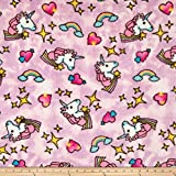Whisper Plush Fleece Unicorn Cool Pink Fabric By The Yard