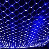 LED String Lights Net Mesh Lights 9.8ft x 6.6ft 204 Dimmable with Remote Control Tree-wrap with 8 Modes for Wedding Christmas Outdoor Garden (Blue)