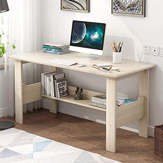 Amazon Com Home Office Computer Desk With Bookshelf 39 Inches Home Office Desk Bedroom Laptop Study Table Office Desk Workstation With Space Saving Design For Small Spaces Maple Cherry Color Kitchen Dining