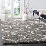 Safavieh Hudson Shag Collection SGH280B Grey and Ivory Moroccan Ogee Plush Area Rug (10' x 14')