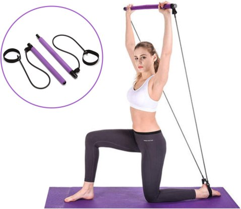 Amazon.com : smpufier Pilates Bar Kit, Yoga Pilates Exercise Stick with  Resistance Bands, Portable Fitness Equipment with Foot Loop, for Women,  Men, Home Gym, Body Workout, Yoga, Stretch, Sculpt, Twisting : Sports