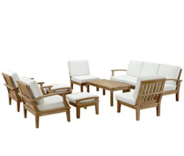 Amazon Com Modway Marina Teak Wood  Piece Outdoor Patio Furniture Set In Natural White Garden Outdoor
