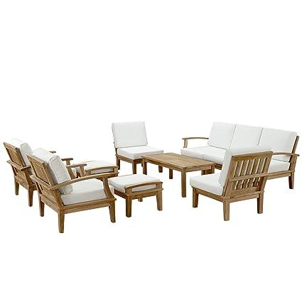 Amazon Com Modway Marina Teak Wood  Piece Outdoor Patio Furniture Set In Natural White Garden Outdoor