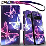 Mefon Galaxy S10 Plus Wallet Case Leather Detachable, Durable Slim, Enhanced Magnetic Closure, with Wrist Strap, Card Slot, Kickstand, Luxury Flip Folio Cases for Samsung Galaxy S10+ (Butterfly 2)